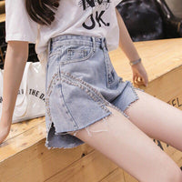Rivet Slit Irregular Jean Shorts Women Summer High Waist Slim Wide Leg Pocket