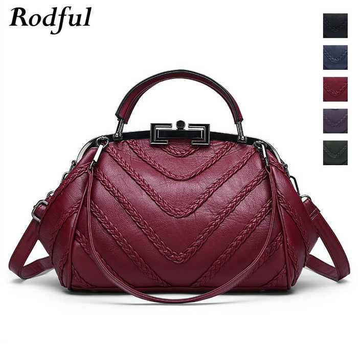 Rodful luxury handbags women bags fashion purse doctor sheepskin hand bag ladies genuine leather shoulder messenger bag women's