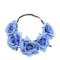 Rose Flower Crown Wedding Festival Headband Hair Garland Wedding Headpiece Floral Head Wreath Bridesmaid Bridal Accessories