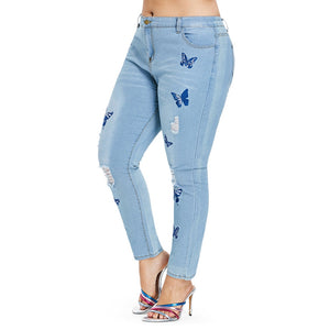 Rose gal Plus Size Jeans Women Distressed Embroidered Denim Pants Skinny High Waist Zipper Pencil Pants Trousers cowboy pants