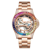 Waterproof Automatic Mechanical watch Hollow Colored Diamond Luxury Watch