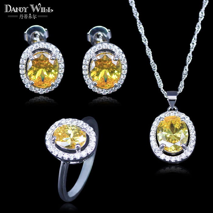 Round 3 Piece 925 Logo Silver Color CZ Jewelry Sets For Women Yellow Stone White Crystal Rings Necklace And Earrings Sets