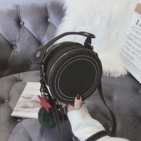 Round Crossbody Bags For Women Handbags Rivet Pu Leather Messenger Bags Women