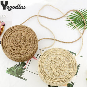 Round Women Bag Circle Hollow Straw Braided Flower Shoulder Bag Casual Knitting Crossbody Bags for Girls Handbags Travel Holiday