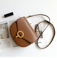 Round lock semicircle Genuine Leather Messenger Bags for Women 2019 Brands Designer Retro Handbag Shoulder Bags Saddle Small Bag