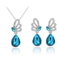 Royal Adorable Blue Glass  Full Rhinestone Butterfly  Necklace Earring Set For Women 2-Piece Jewelry Set