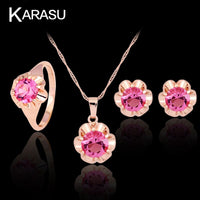 Royal Cubic Zirconia Cute Fashion Hot Pink Flower Rhombic Ring Necklace Earring Set For Women 3-Piece Jewelry Set