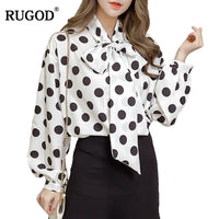 Rugod Hot Sale Dotted Knitted Loose Bow Blouse For Women Long Sleeve Elegant Shirt Female 2019 Srping Stylish Women Tops