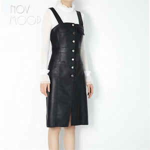 autumn spring black genuine leather real lambskin high waist strap