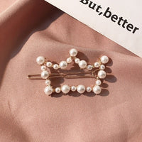 Ruoshui Pearl Clips for Woman Girls Delicate Hairpins Crystal Hair Grips Ladies