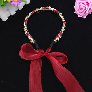 Ruoshui Vintage Ribbon Bezel Hairband For Woman Girls Pearl Headband Ladies Hair Accessories Fashion Hair Hoop Styling Headwear