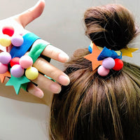 Ruoshui Woman Candy Color Scrunchies Girls Star Ball Elastic Hairband