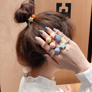 Ruoshui Woman Star Round Hair Ties Girls Scrunchies Ponytail Holders