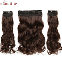 "S-noilite 20"" 3 Pcs/set Clips In Hair Extensions Long Curly Synthetic Hairpieces Real Natural Clip In extension hair For Women"