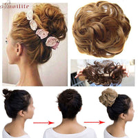 S-noilite 40g Women Chignon with Rubber Band Synthetic Hair Extensions Updo Donut Hairpieces Hair Bun Wrap Ponytail for Women