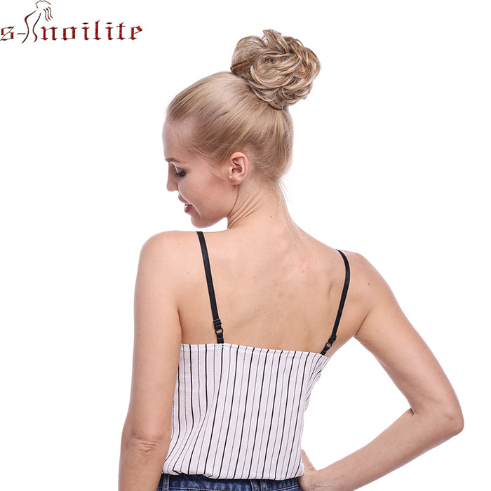 S-noilite 45g Thick Elastic hair Bands Chignon Donut Buns Synthetic Hair Extension Chignon Rubber Bands Hairpiece Wrap Ponytail