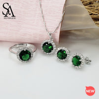 SA SILVERAGE 925 Sterling Silver Green/Red Crystal Round Pendant Necklaces Stud Earrings Wedding Rings Jewelry Set 3-pieces Sets