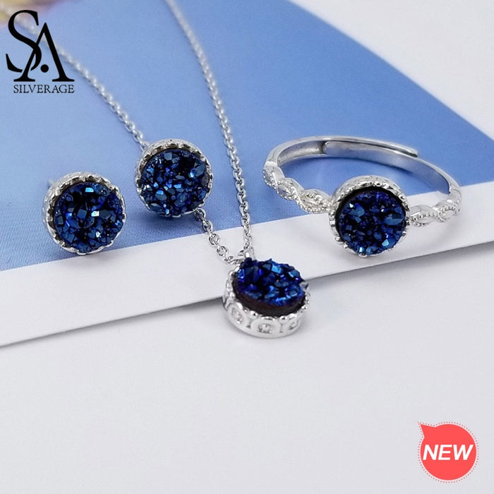 SA SILVERAGE 925 Sterling Silver Round Blue Agate Crystal 3-pieces Set Pendant Necklace Stud Earrings Wedding Rings Jewelry Set