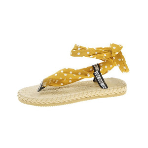 SAGACE New 2019 Summer Women's Bohemian Polka Dot Strap Flat With Sandals Lady Party Flat-soled Round Toe Shoes Sandalias  J6