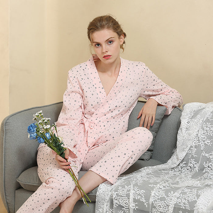 SAGACE Polka Dot Printed Bandage Shirt Full Pants Women Pajamas Set Ladies' Cotton Housedress Long Sleeve Fashion Sleepwears