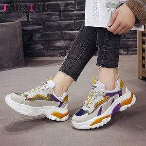 SARAIRIS 2019 Ins Style Fashion Casual women's Walking Comfort Flats Shoes Leisure Soft Light Mixed Colors Chunky Sneakers Shoes