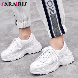 SARAIRIS 2019 New Whole Genuine Cow Leather Dad Shoes Girl Fashion Thick Bottom Sneakers Leather Flat Platform Shoes Woman