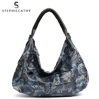 SC 100% Genuine Leather Patchwork Shoulder Bags Soft Leather Sheep Skin Hobo