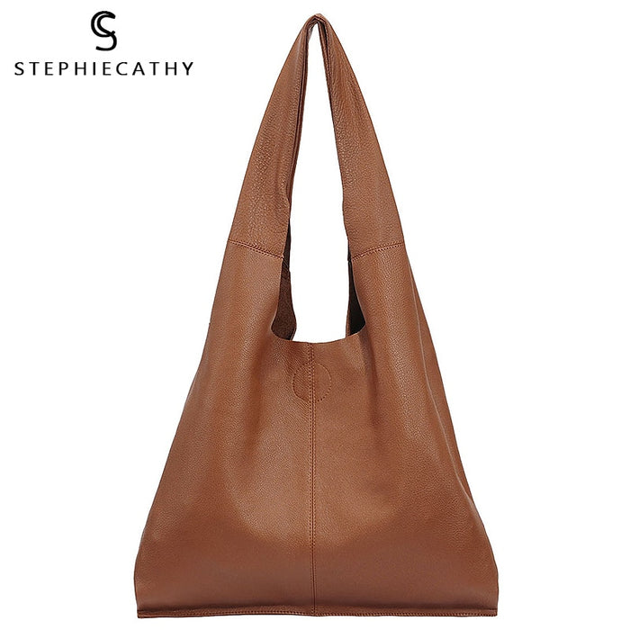 SC Brand Designer Big Genuine Leather Tote Bag Women Vintage Casual Leather Shopping Bag Leisure Shoulder Bag Large Handbag hobo