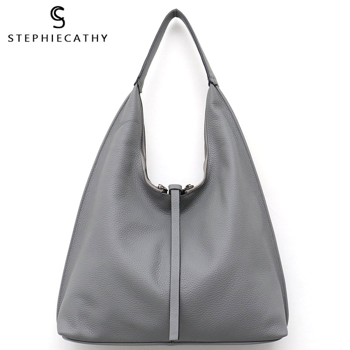 SC Genuine Leather Hobo Bags Women Casual Large Tote String Cowhide Shoulder Bags High Quality Brand Handbag Coin Purse Liner