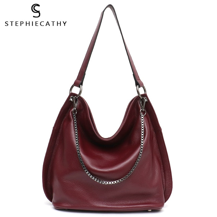 SC Luxury Brand Designer Leather Hobo Bags for Women Soft Real Genuine Cow Leather Chains Slouchy Female Shoulder&Crossbody Bag
