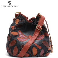 SC Vintage Real Leather Bags Women Denim&Leather Patchwork Shoulder Bag Ladies Bucket Handbag Female Drawstring Hobo Cross Body