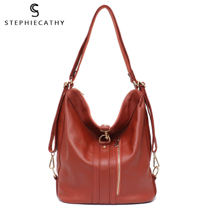 SC Women Genuine Leather Handbags Cow Leather Zip Bags Large Capacity Hobo Bags Ladies Shoulder Belt Bags High Quality Bags