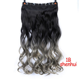 SHANGKE 28''  Long Synthetic Hair Clip In Hair Extension Heat Resistant Hairpiece Natural Wavy Hair Piece