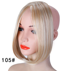 SHANGKE Long Clip In on Front Hair Bang Side Fringe Hair Extension Real Natural Synthetic bangs hair piece