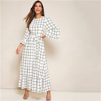 Abaya Bell Sleeve Flounce Hem Grid Belted Maxi Dress Women Autumn