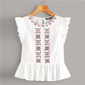 White Embroidered Ruffle Armhole Peplum Top Women Summer Blouses