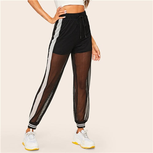 Casual Black Drawstring Waist Mesh Overlay Striped Sheer Sweatpants Sporting Pants
