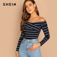 SHEIN Going Out Highstreet Elegant Cross Wrap Off the Shoulder Striped Pullovers Tee Autumn Women Casual Women Tshirt Top