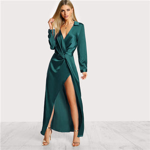 SHEIN Green Collared Plunge Neck Twist Satin Dress Deep V Neck Slim Maxi Dresses Women Autumn Long Sleeve Sheath Party Dress