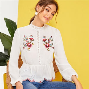 Top White Spring Summer Stand Collar Ruffle Hem 2019 s And Blouses