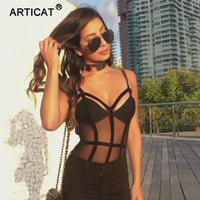 Bodysuit Women Summer Deep V Neck Lace Cross Criss Club Wear