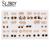 SLZBCY Cute Colorful Mixed Fruit Stud Earrings Set Gold Color Square Alloy Earring For Girl Child kid Part Gift Arete Jewelry