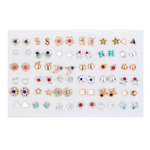 SLZBCY Trendy Gold/Silver Color Geometric Small Earrings Sets for Women Kids Crystal Heart Star Stud Earring 36 Pairs/Set