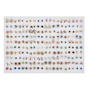 SLZBCY Wholesale 100Pairs/Set Mix Style Small Stud Earrings Set For Girls Women Cute Heart Child Earring Fashion Jewelry Gift