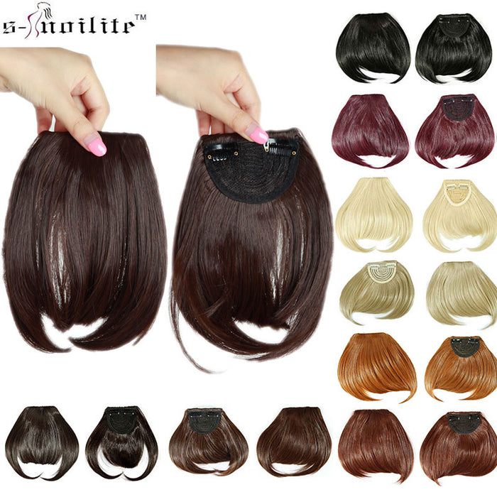 "SNOILITE 8"" Short Front Neat bangs Clip in bang fringe Hair extensions straight Synthetic Natural hair extension bangs"