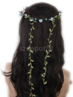 SPMART Blue Rose Flowers Branch Festival Wedding Garland Head Wreath Crown Floral Halo Headpiece Photography Tool Adult Size