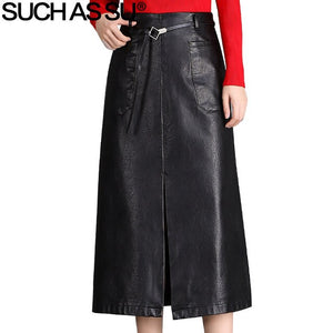 Brand New Fall Winter PU Leather Skirts Womens Black Mid Long Skirt