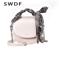 SWDF Women's Shoulder Bag New 2019 Shoulder Messenger Bag Chain Saddle Bag Female Designer Scarf Magnetic Buckle Tote Bag