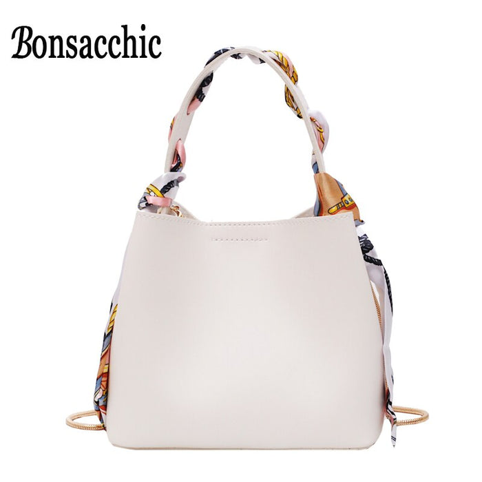 Sac A Main Femme White Bucket Bags Solid Color Small Women Handbags Luxury Designer 2019 Ladies Hand Bags Scarves Bonsacchic