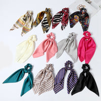 Women Rubber Bands Tiara Satin Ribbon Bow Hair Band Rope Scrunchie